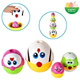 LUKAT Plastic Easter Eggs, Baby Toddler Easter Gifts, Stacking Toys and Nesting Playset Toy for Kids Boys Girls