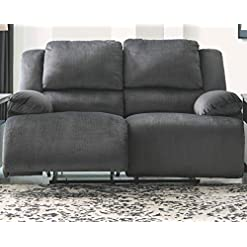 Farmhouse Living Room Furniture Signature Design by Ashley – Clonmel Contemporary Plush Reclining Loveseat – Pull-Tab Reclining, Gray farmhouse sofas and couches