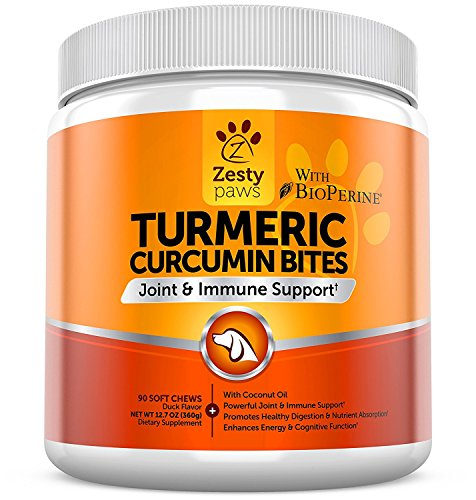 Turmeric Curcumin for Dogs – With 95% Curcuminoids for Hip & Joint + Arthritis Support – Digestive & Mobility + Immune Dog Supplement – With Organic Turmeric, Coconut Oil & BioPerine – 90 Chew Treats