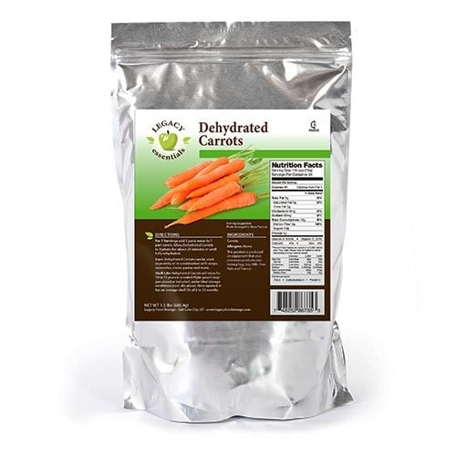 Legacy Essentials Dehydrated Carrots: Long Shelf Life Emergency Survival Vegetables - Great for Camping, Ingredients, Food Storage, More (Quantity 1)