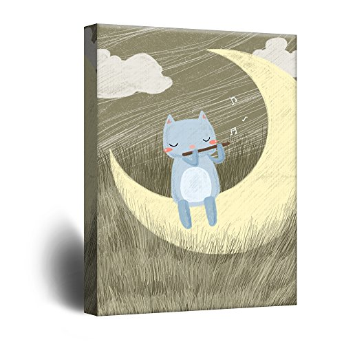Cute Cartoon Animals A Cat Playing Flute on The Crescent Moon Kid