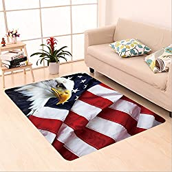 Sophiehome skid Slip rubber back antibacterial  Area Rug north american bald eagle on american flag 244441918 Home Decorative