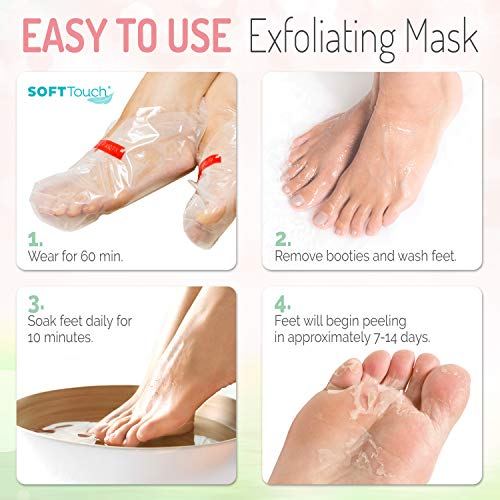 Soft Touch Foot Peel Mask – Pack of 2 Feet Peeling Masks for Dry, Cracked Heels & Calluses – Exfoliating Foot Mask Peel…