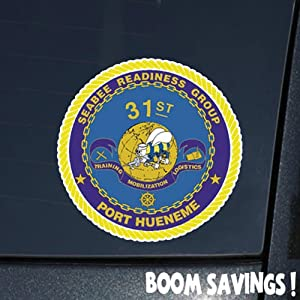 "US Navy 31st Seabee Readniess Group SSI 6"" Decal Sticker by BoomSavings"