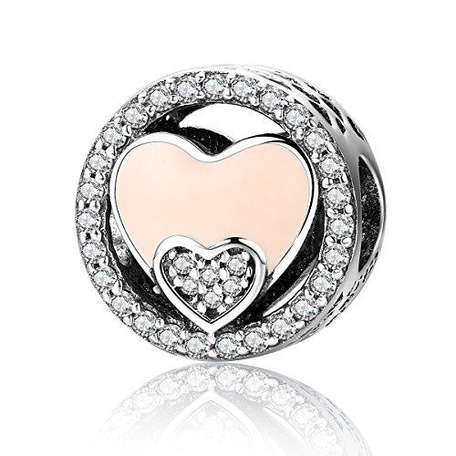 (BAMOER 925 Sterling Silver Sweet Heart Charm for Women Bracelet Enamel Double Heart Bead)