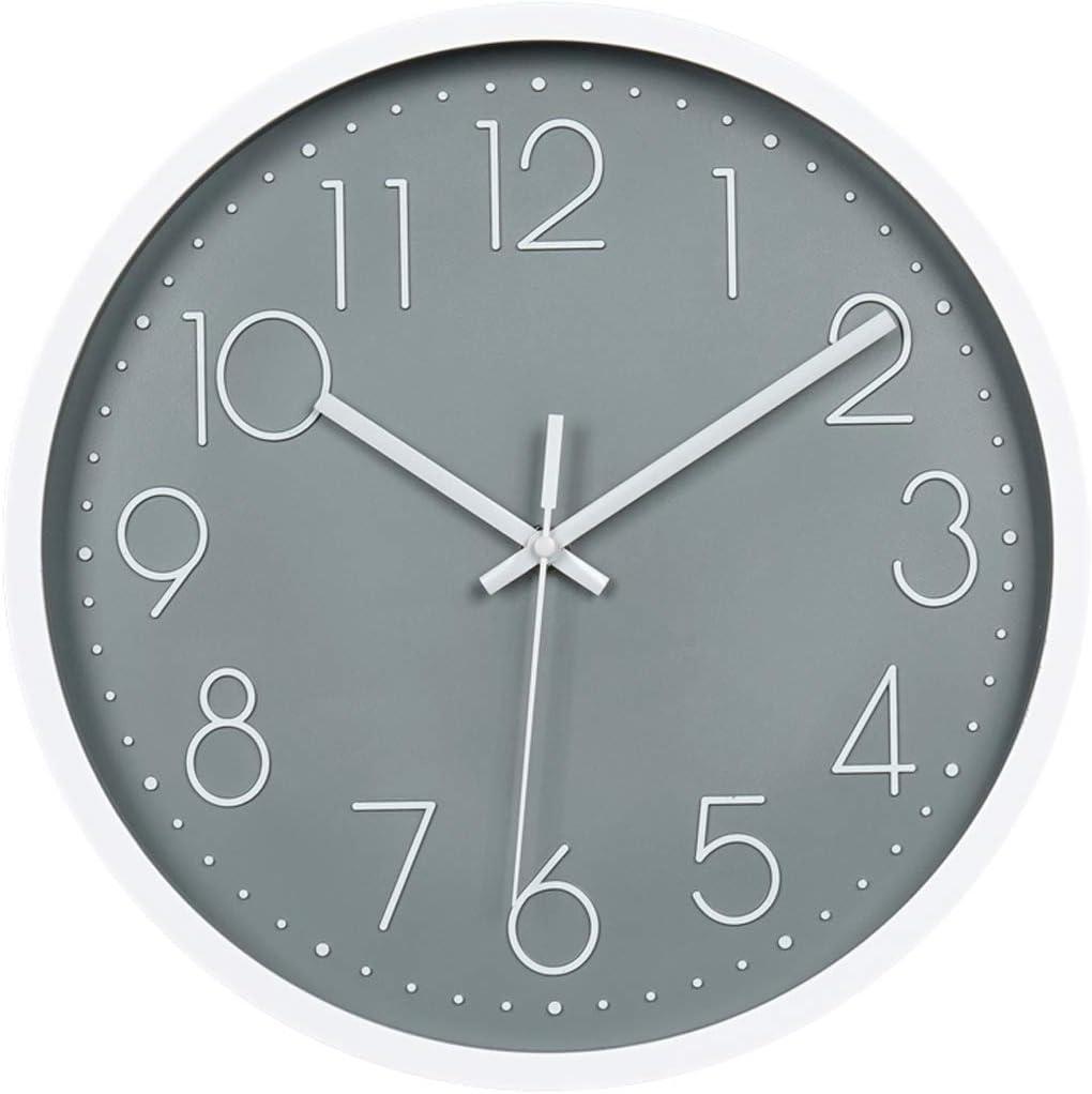 Topkey Reloj de Pared 12inch Modernos Silenciosos Reloj de Pared Decorativo para Salón, Dormitorio, Cocina - Gris