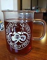 Laboratory Beaker Mug- 17 oz Glass Mug with Zombie Biohazard Artwork