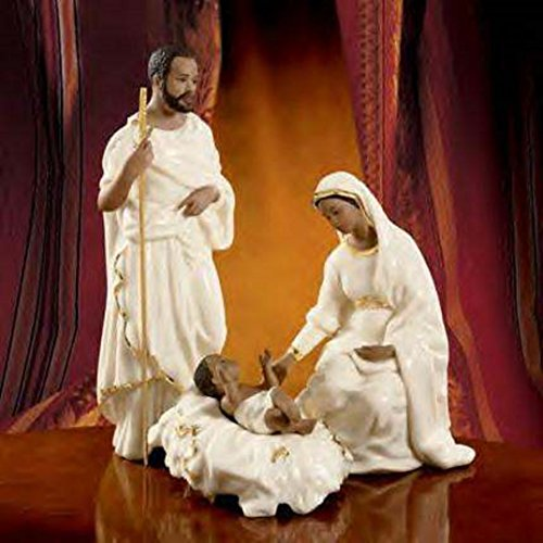Lenox African American Oh Holy Night Nativity Family Figurines Joseph Mary Baby Jesus by Lenox