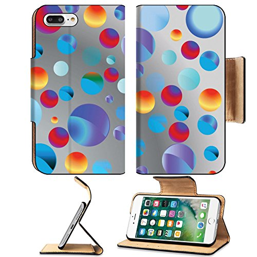 Luxlady Premium Apple iPhone 7 Plus Flip Pu Leather Wallet Case iPhone 7 Plus 21700379 bubbles vector (Love Gardening Banner)