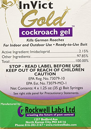InVict Gold German Roach Control Bait Gel 1 box of 4 tubes (35 grams per tube) w/ 1 plunger by Rockwell ()