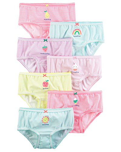 Carter's Girl's 7-pack Weekday Stretch Cotton Panties (6-6x, Strawberry (43634812-11-2017)ice Creamstripes)