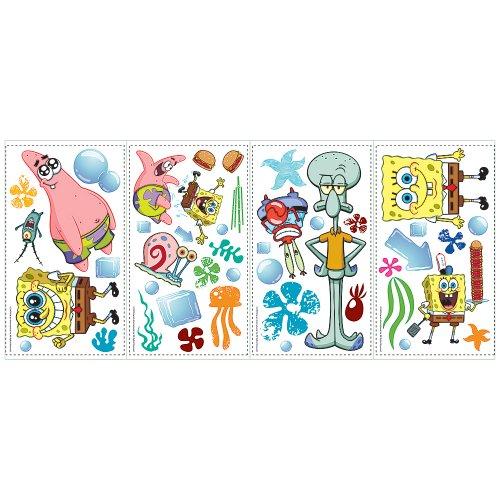 RoomMates RMK1380SCS SpongeBob Squarepants Peel & Stick Wall Decals (Spongebob Set Decal)