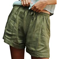 Women Summer Solid Lace Up Cotton and Linen Pockets Casual Short Pants