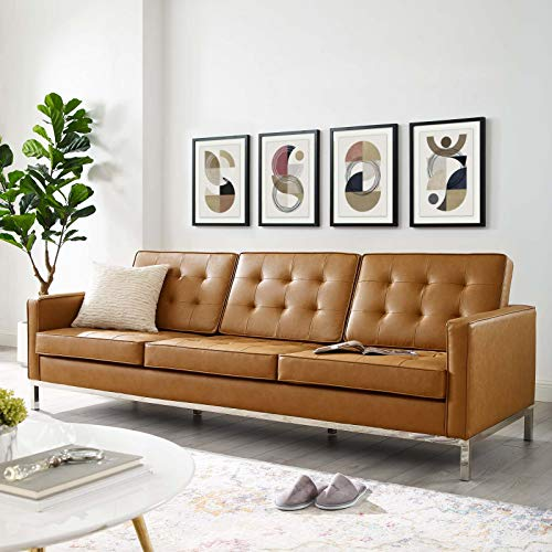 Modway EEI-3385-SLV-TAN Loft Tufted Upholstered Faux Leather Sofa, Silver Tan