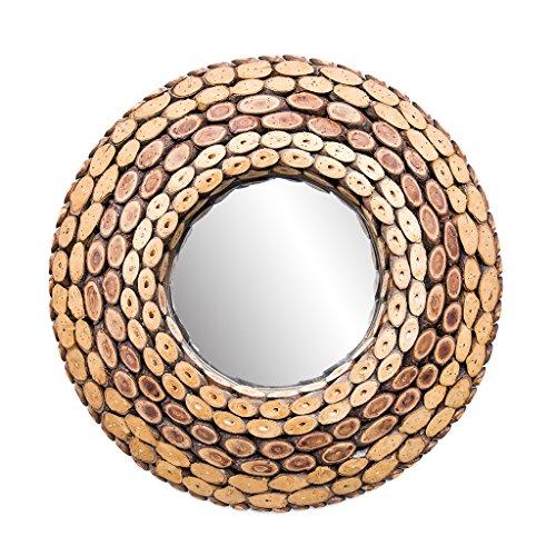 Mirror - Davina Home Natural Wood Wall Mirror - Handmade Wall Mirror, Decorative Mirror, Large Round Wall Mirrors, Handmade Wood Art, Round, 24