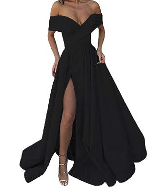 c5e357b891 FTBY Off The Shoulder Prom Dress High Split Evening Dress Long Satin Formal  Gown Pockets Black1
