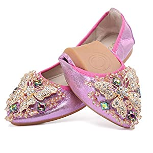 Cattle Shop Women's Foldable Flats Rhinestone Sparkly Wedding Shoes Comfort Slip On Pointed Toe Ballet Flat Shoe
