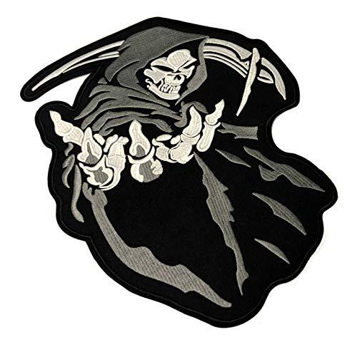 Bone Crest - Grim Reaper Embroidered Large Back Patch Angel Devil Motorcycle Biker Club Series Jacket Vests Ghost Hog Outlaw Middle Finger Skull Bone Iron or Sew-on Emblem Badge Appliques Application Fabric
