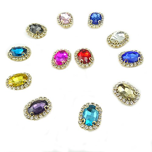 (Honbay 12Pcs Assorted Color Rhinestone Beads 4 Claws Hand Sewing Crystal Beads with Holes for Sewing Headbands Hair Bows Wedding Bouquet Clothes Accessories )