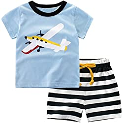 Csbks Kids Boys Summer Outfits Short Sleeve T-Shirt & Shorts Sets 1-6 Toddler 4T Airplane