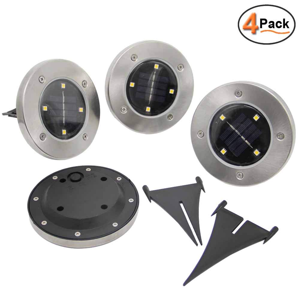 Warm White 4 Pack Magift Maggift Solar Ground Lights,Garden Pathway Outdoor In-Ground Lights with 4 LED
