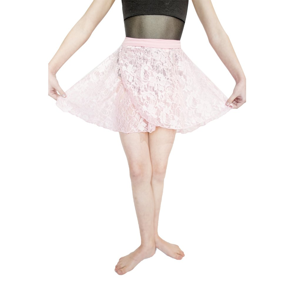 HDW DANCE Lace Dance Wrap Skirts for Kids Cotton Waistband (Light Pink-C) by HDW DANCE