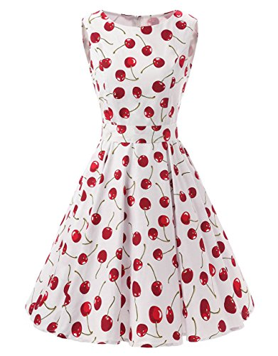 Ensnovo 50s Vintage Style Rockabilly Swing Picnic Evening Party Cocktail Dress Cherry S ()