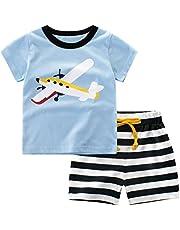 Csbks Kids Boys Summer Outfits Short Sleeve T-Shirt & Shorts Sets 1-8 Toddler Octopus 110