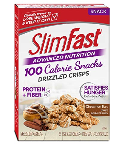 (SlimFast Advanced Nutrition 100 Calorie Snacks, Drizzled Crisps, Cinnamon Bun Swirl,1 oz Bag (Pack of 5))