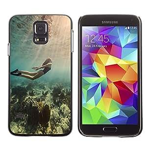 TECHCASE**Cubierta de la caja de protección la piel dura para el ** Samsung Galaxy S5 SM-G900 ** Diving Ocean Woman Beautiful Light Sea