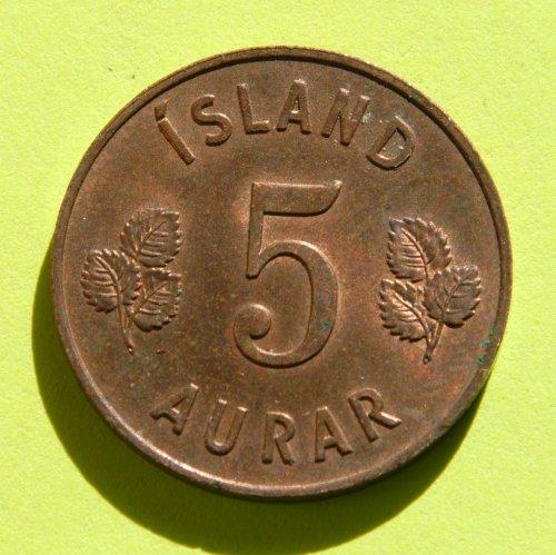 ICELAND 5 AURAR coin 1960