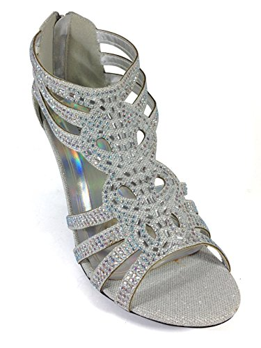 01091e0e130 Enzo Romeo Kinmi25N Womens Open Toe Mid Heel Wedding Rhinestone Gladiator Sandal  Shoes