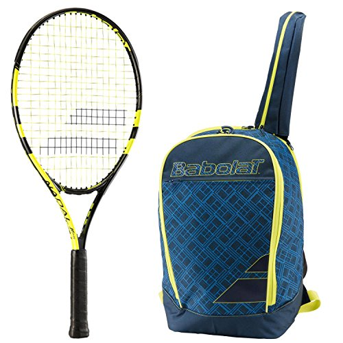 Club Racket Bag - Babolat Nadal Junior 26 Inch Tennis Racquet bundled with a Blue/Yellow Club Tennis Backpack