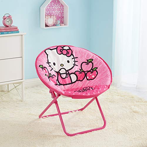 Hello Kitty Chair (So Adorable,Durable,Portable and Collapsible Hello Kitty 23 Inch Kids Pink Folding Saucer Chair,Great for Kids Room,Playroom or Classroom,Great Gift)