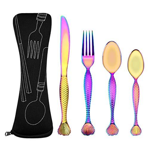 (Himeo Stainless Steel Flatware Set Cutlery Set Dinnerware Set Iridescent Mermaid Tableware Set Include Knife Fork Medium Spoon Tea Spoon Durable Dinner Utensils Fancy Comfy Grip Easy Clean Rainbow)
