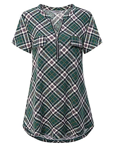 Peasant Blouse, Women's Shirts Notched Collar Zip V Neck Short Sleeve Tunic Tops Versatile Retro Style Pleated Front Curved Hem Hipster Baggy Plaid Tshirt Green ()
