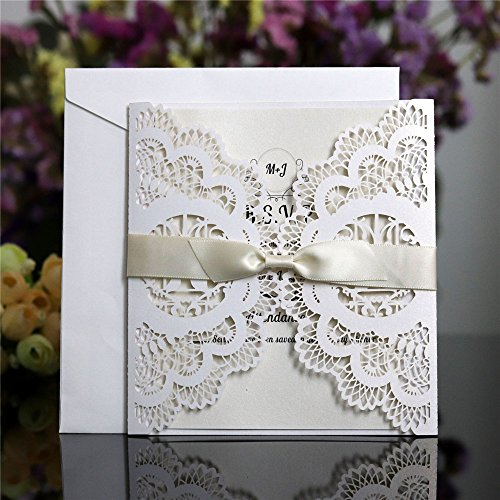 10pcs/Pack Invitations Cards Kits,Wedding Party Invitations Cards with Printable Paper and Envelopes Laser Cut Out Invitations Love Birds Greeting Card Wedding Party (Love Birds Wedding Invitation)