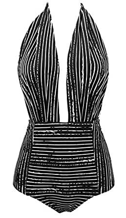 COCOSHIP Black Striped & White Balancing Act Vintage One Piece Backless Bather Swimsuit High Waisted Pin up Swimwear Maillot S(FBA)