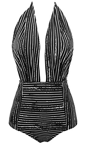 (COCOSHIP Black Striped & White Balancing Act Vintage One Piece Backless Bather Swimsuit High Waisted Pin Up Swimwear Maillot)