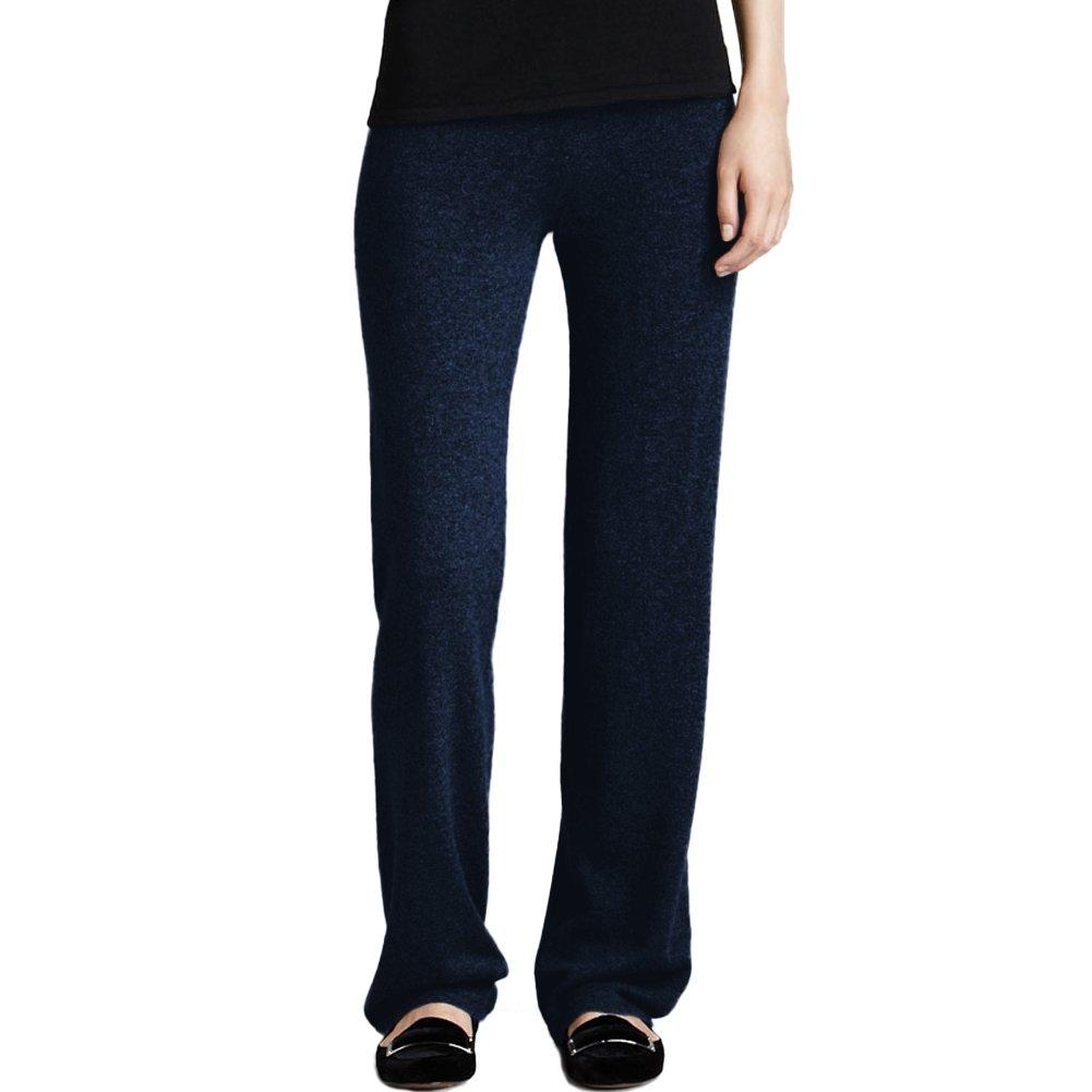 Parisbonbon Women's 100% Cashmere Pants Color Midnight Blue Size L by Parisbonbon
