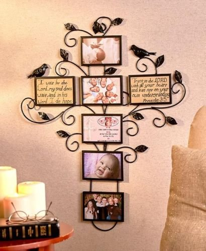 Picture Frame Wall Hanging Iron Cross Shaped 7 Pieces Home Decor Photo Collage