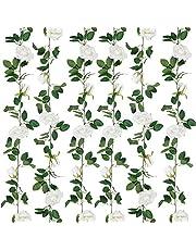 SHACOS Artificial Rose Vines Garlands Set of 2 Rose Flower Strands with Leaves Hanging Rose Garlands Home Wedding Party Decor (White, 2)
