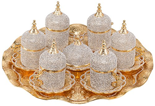 Grand Gifft Handmade Copper Turkish Coffee Espresso Serving Set Swarovski Crystal Coated Cup (Upper Crust) V.i.p Product (Arabic Dishes Set)