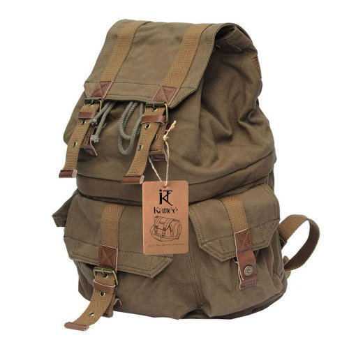 Kattee Military Style Canvas DSLR Camera Backpack Rucksack Waterproof for Sony Canon Nikon - Camera Bag Video Large