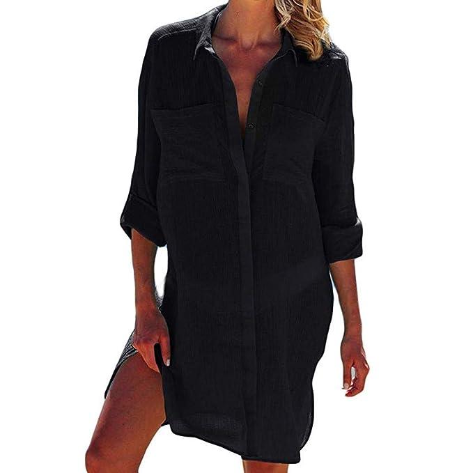 Amazon.com: Traje de baño para mujer con botones y camisa de ...