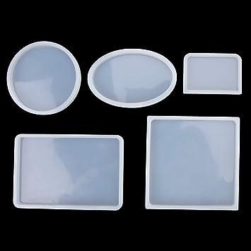 Molde de Joyas Silicona 145 PC, 5 Oval de Forma Molde Silicona+ 100 piezas de tornillo Pins la Epoxy Resina Moldes+ 10 tazas plásticas disponibles+ 10 ...