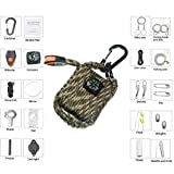 core 2 accesories - DELISI Outdoor Emergency Paracord Grenade Survival Kit,Includes Fishing Tools,Lighting Fire Tools 26pcs All-in-1 Box,Essential Gear for Adventurers While Traveling Untraveled Place(Camouflage)