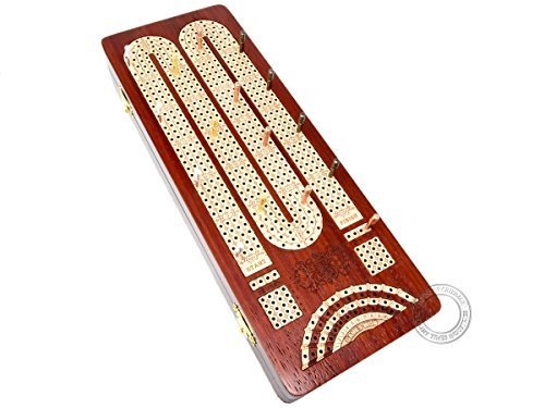 House of Cribbage - Continuous Cribbage Board / Box inlaid in Bloodwood / Maple : 4 Tracks with Score marking fields for Skunks, Corners and Won Games ()
