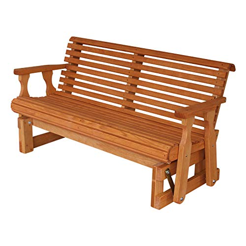 - Amish Heavy Duty 800 Lb Roll Back Pressure Treated Porch Glider (5 Foot, Cedar Stain)