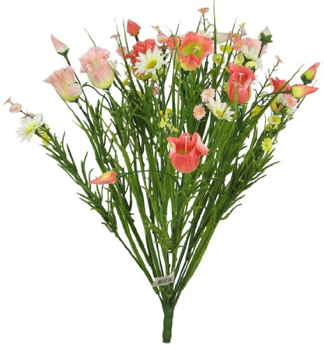 "18"" Elegant Artificial Buttercup Mix Flower Wedding Bush - Peach/Pink"
